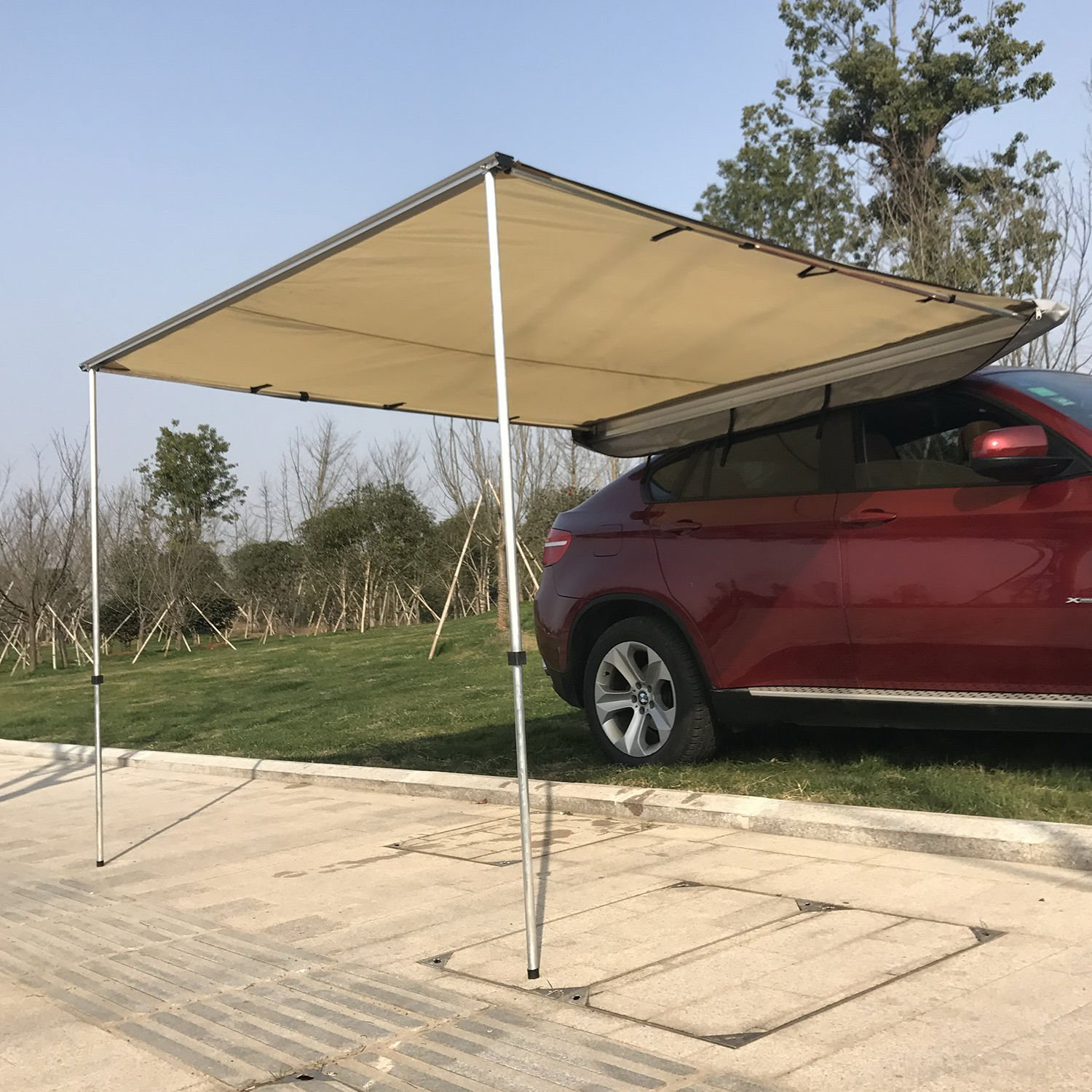 Outsunny Car Awning   Portable Folding Retractable Rooftop Sun Shade  Shelter (Large)