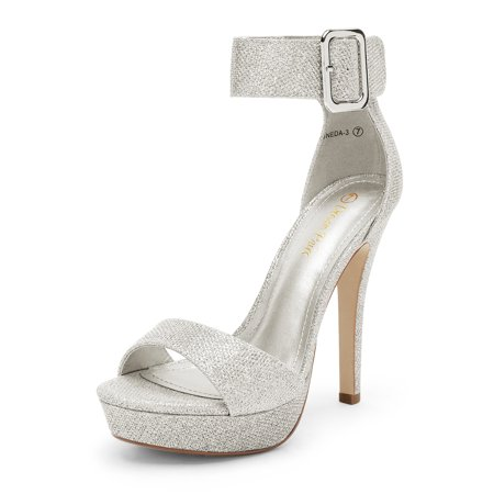 DREAM PAIRS Women's Open Toe Ankle Strap Stilettos Heel Sandals Party Wedding Pumps High Shoes ONEDA-3 SILVER/GLITTER Size 9