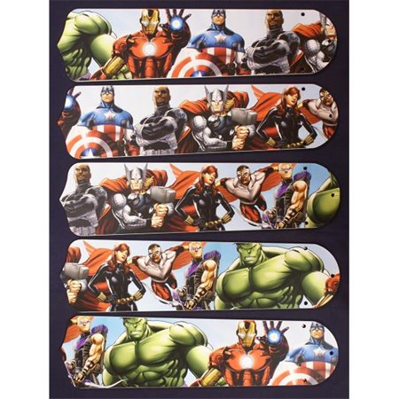 Ceiling Fan Designers 52SET-KIDS-AVNG 52 in. Avengers Marvel Capitan America Ceiling Fan - Walnut 52 Inch Fan Blades