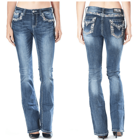 GRACE IN LA SALE Mid Easy Bootcut Embellished Jeans (Hudson Jeans Sale Discount)