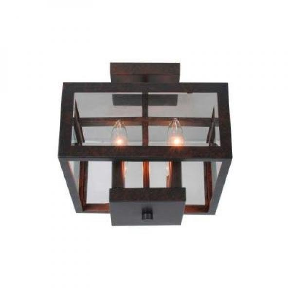 Hampton Bay 4-light Oxide Brass Semi-flush Mount with Tallarook Panel Glass Shade by