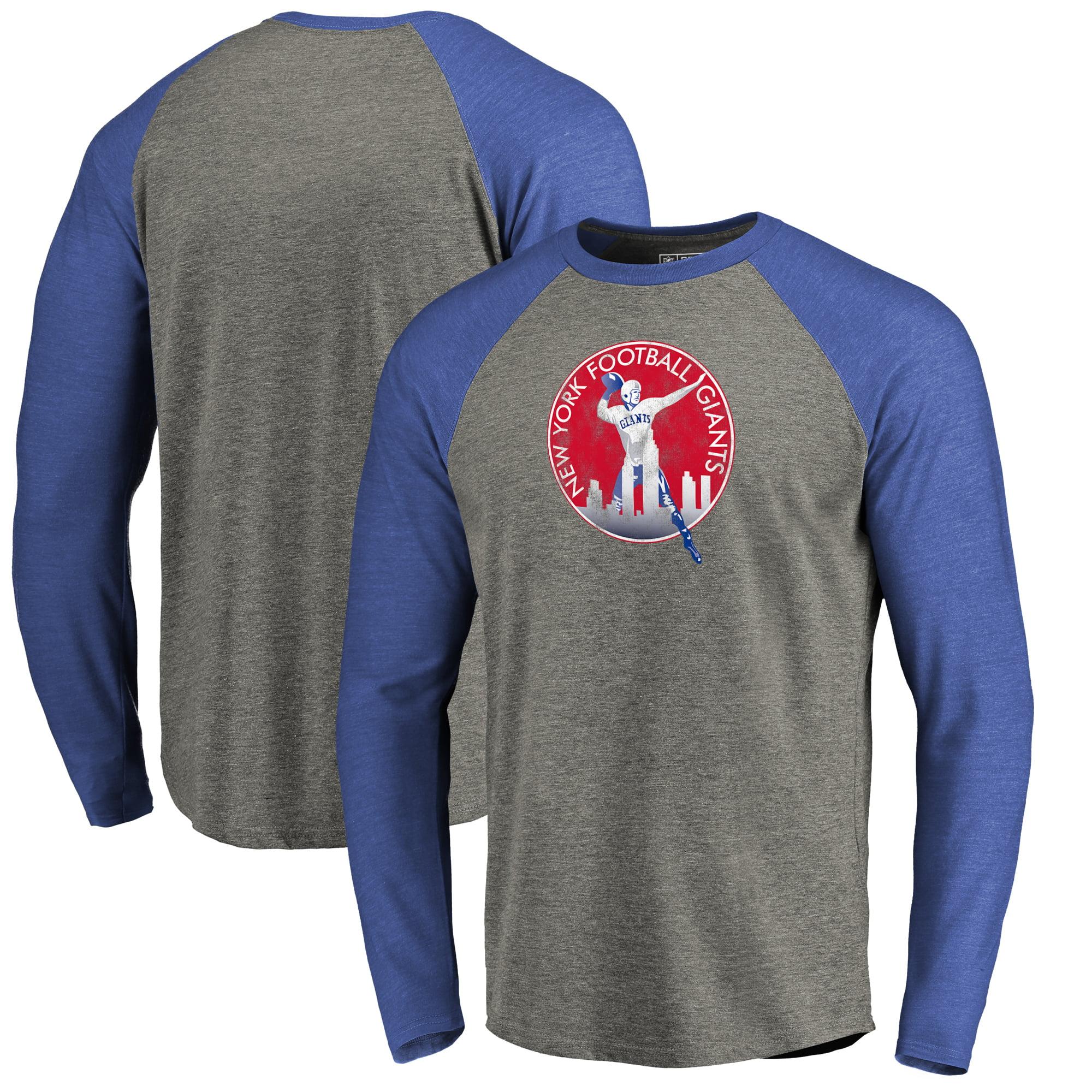 New York Giants NFL Pro Line by Fanatics Branded Throwback Logo Big & Tall Long Sleeve Tri-Blend Raglan T-Shirt - Gray/Royal