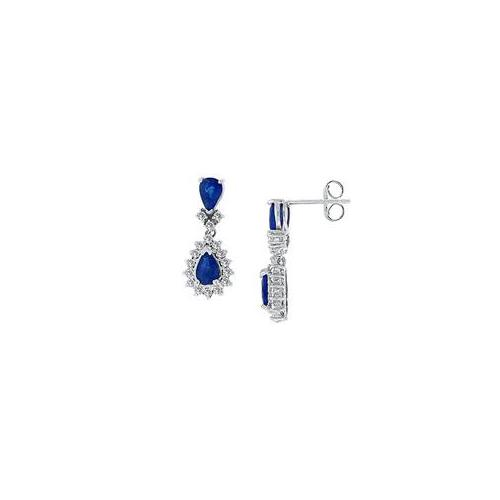 Fine Jewelry Vault UBAB136WS Blue Sapphire and Diamond Earrings- 14K White Gold - 2. 50 CT TGW