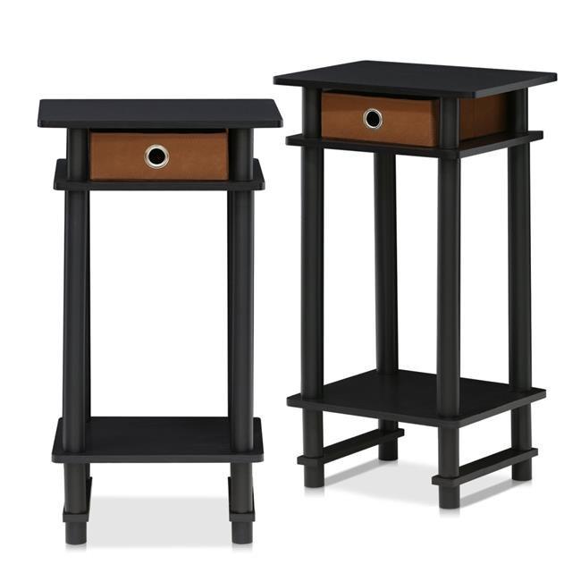 Turn-N-Tube Tall End Table with Bin, Espresso & Brown - Set of 2