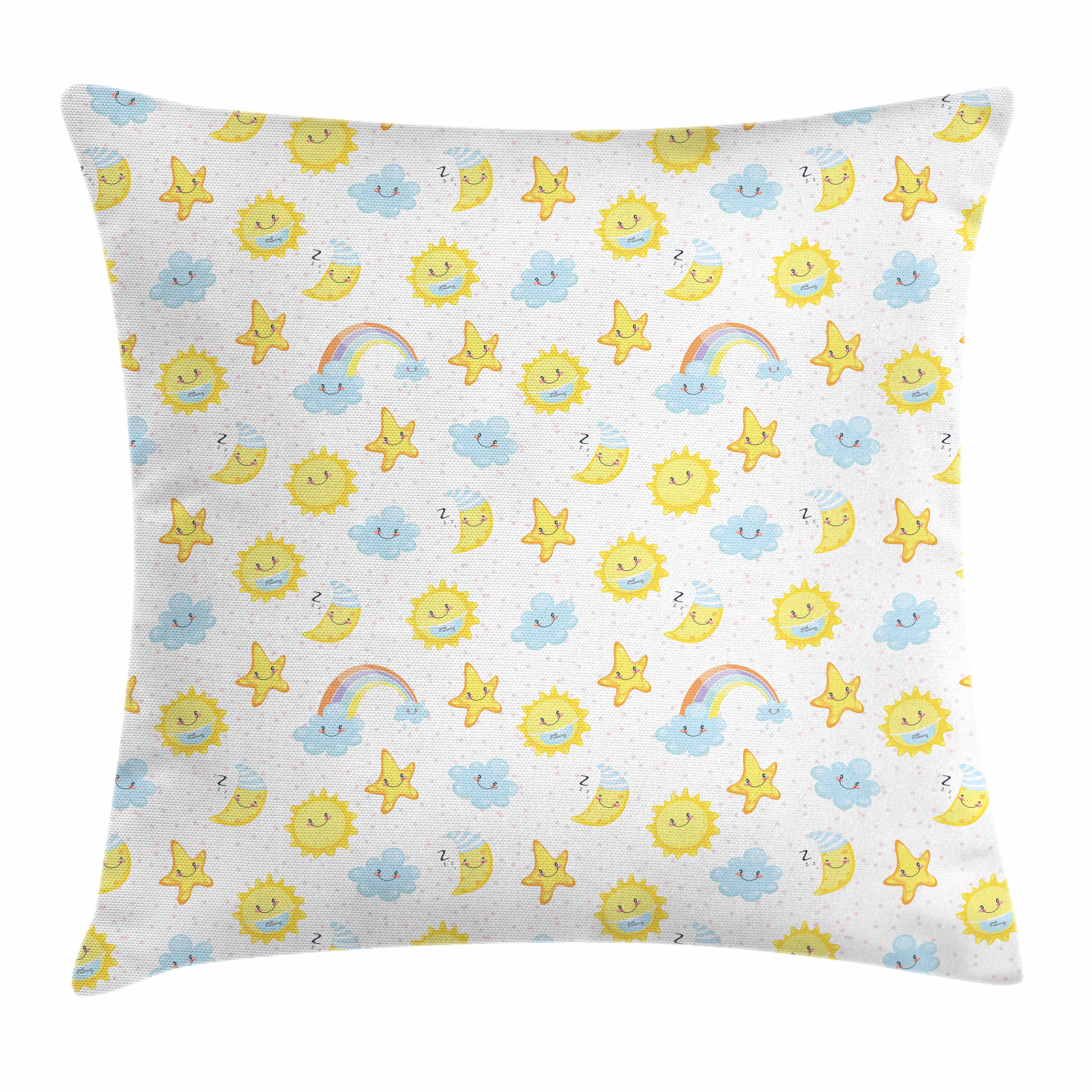 Kids Throw Pillow Cushion Cover, Happy Smiling Moon and Stars Good Morning and Night Rainbows Funny Clouds, Decorative Square Accent Pillow Case, 16 X 16 Inches, Yellow Baby Blue Pink, by Ambesonne