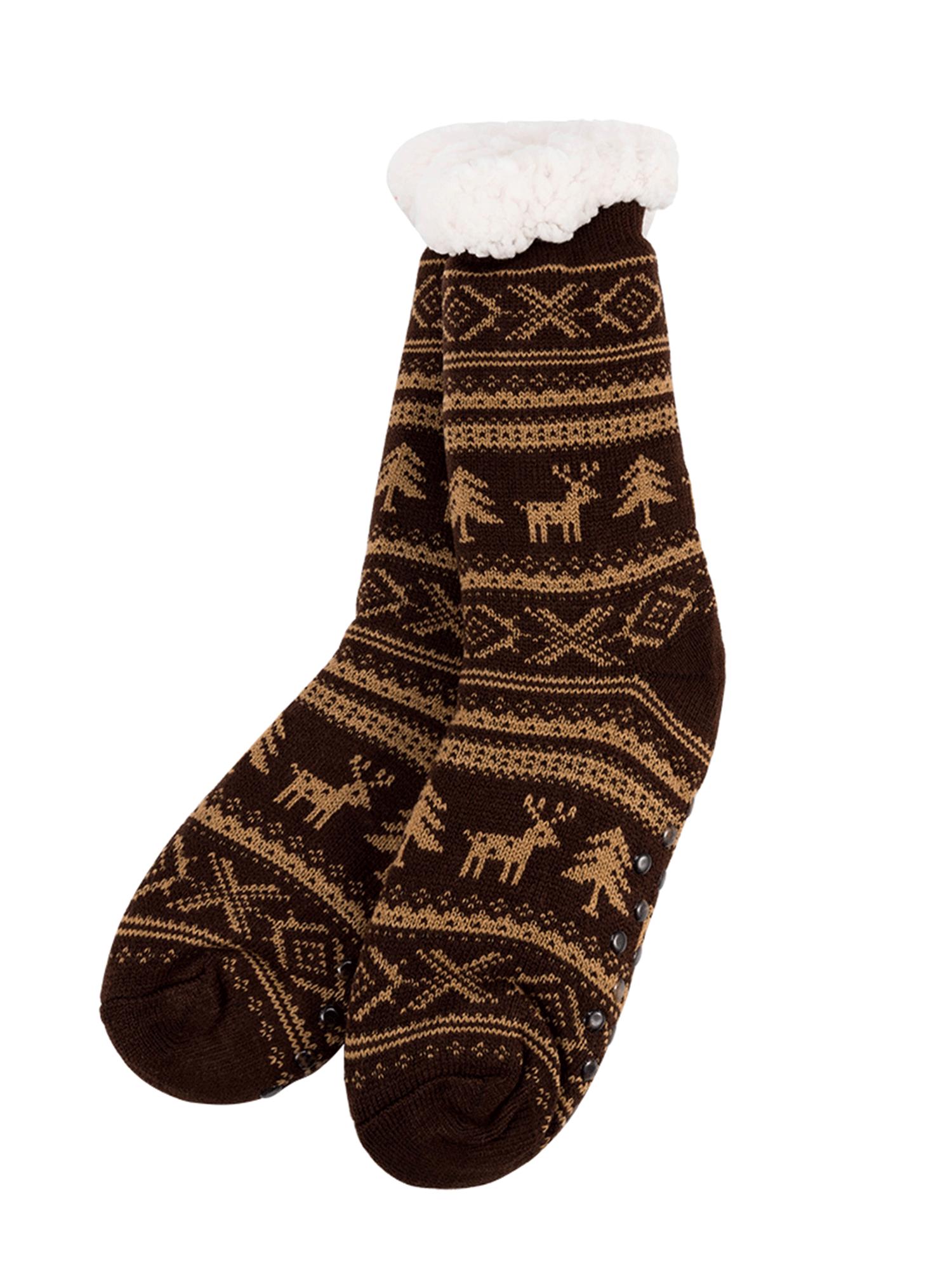 Newstar T032MBK Christmas Slipper Socks for Men, Men's Fleece Lining Fuzzy Soft Warm Winter Socks, Pink Knee Highs Stockings Slipper Socks for Adults,(Six Colors)