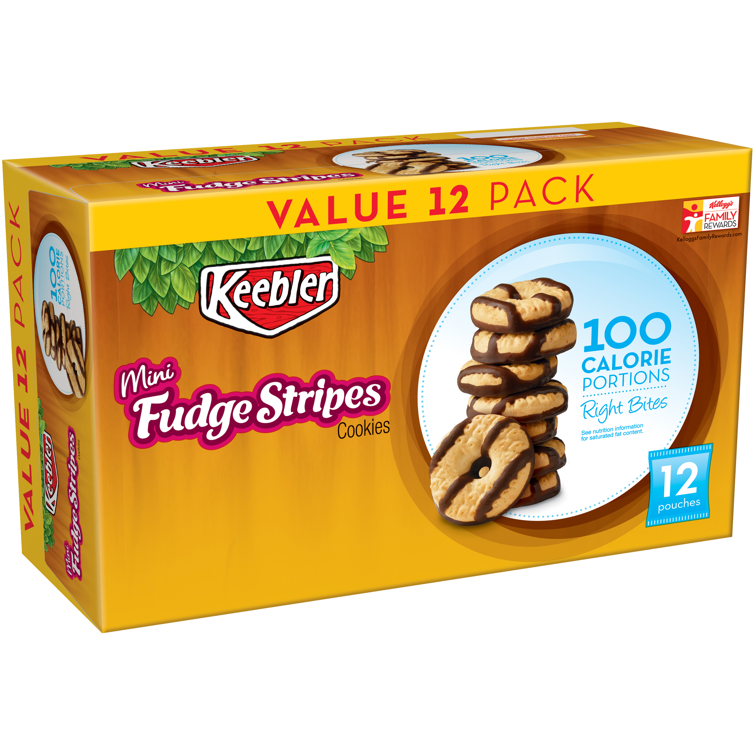 Keebler® 100 Calorie Right Bites™ Fudge Stripes™ Mini Cookies 12-0.74 oz. Pouches