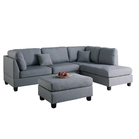 - Contemporary Polyfiber Fabric Sectional Sofa with Reversible Chaise and Ottoman Set in Gray