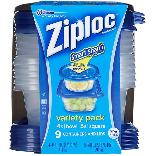 Ziploc Smart Snap Seal Containers with Lids Variety Pack, 9 count