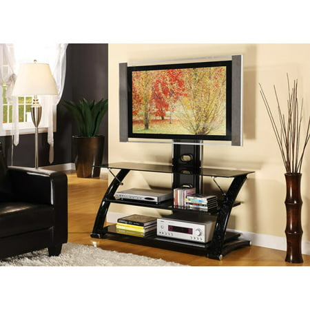 Innovex 60 Quot Black Marble Tv Stand With Mount For Tvs Up To