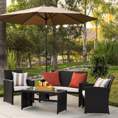 Best Choice Products 4-Piece Wicker Patio Conversation Furniture Set w/ 4 Seats, Table, Tempered Glass Tabletop, 3 Sofas, Weather-Resistant Cushions -