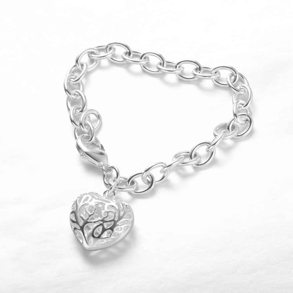 Bracelet Silver Plated Fashion Jewelry For Men/Women Hollow Out The Stereo Hearts Crude Bracelets Bangle Bands Wristband H269