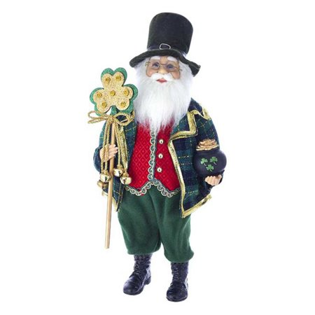 Kurt S. Adler Kringle Klaus Irish Santa with White Staff Tabletop Decoration](Ireland Decorations)