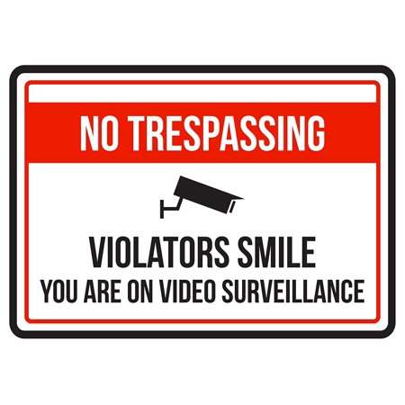 No Trespassing Violators Smile You Are On Video Surveillance Business Commercial Warning Small Sign - 7.5 x (Best Small Home Business)