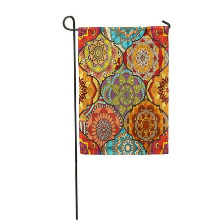 LADDKE Colorful Tiles Boho Mandala Abstract Flower Floral Furniture Hippie Romantic Fro Garden Flag Decorative Flag House Banner 12x18 inch ()