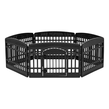 IRIS 24'' 6 Panel Exercise Pet Playpen with Door, Black