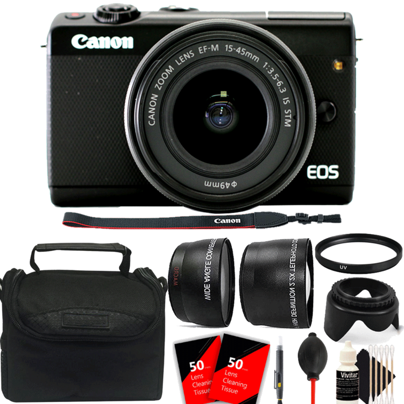 Canon EOS M100 Mirrorless Digital Camera with 15-45mm EF-M IS STM Lens Black with Accessory Kit