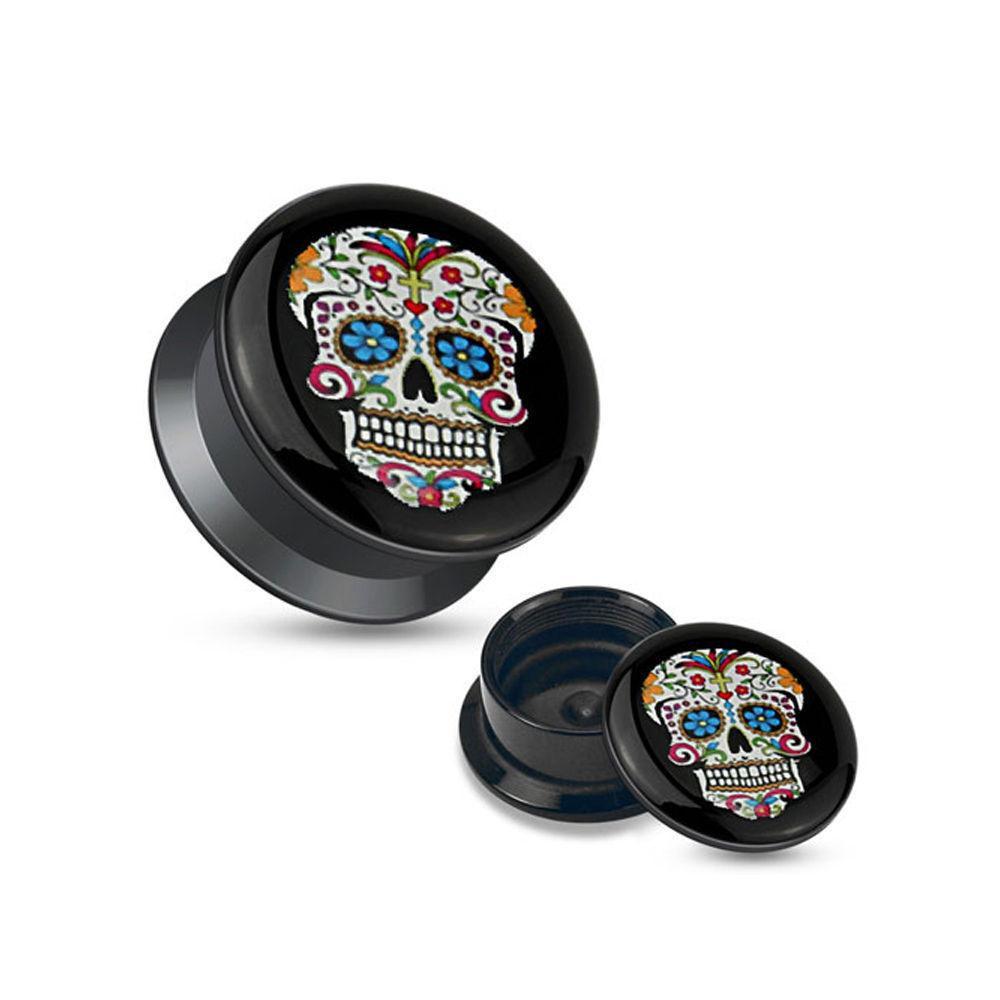 Ear Gauges Plugs Pair blue eyes Sugar Skull Black Acrylic Stash Screw Fit Plugs