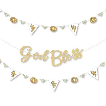 Elegant Party Decorations (Elegant Cross - Religious Party Letter Banner Decoration - 36 Banner Cutouts and No-Mess Real Gold Glitter God Bless Banner)