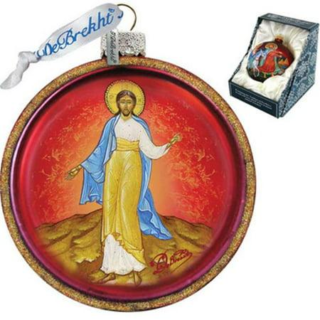 G Debrekht Holiday Jesus Cut Ball Glass Ornament