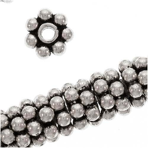 Antiqued Bali Sterling Silver Daisy Spacers 5mm (8 Beads)