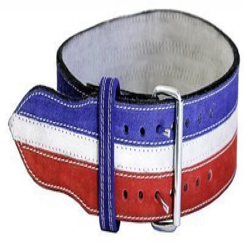 "Ader Leather Power Weight Lifting Belt- 4"" Red/ White/ Blue (Large)"