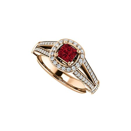 1 CT 14K Rose Gold Vermeil Faceted Cut Ruby & Cubic Zirconia Round Split Shank Halo Ring, Size 6 Faceted Rough Cut Ruby