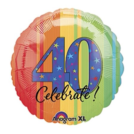 40th Birthday Party - A Year to Celebrate 40 Mylar 18 inch - 40 Balloon
