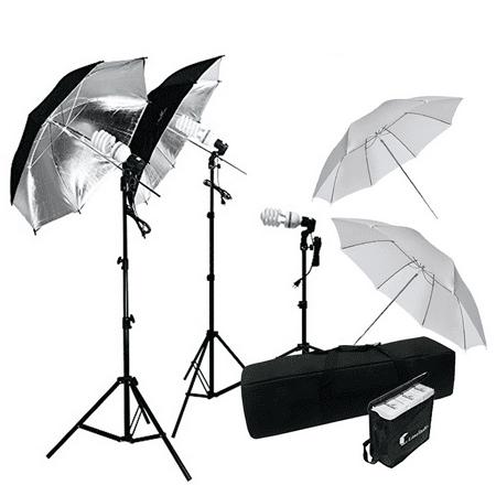 Loadstone Studio 600W Photography Triple Photo Umbrella Lighting Kit, Video, Umbrella Continuous Lighting Kit, CFL Photo Bulbs, Black/Silver & White Umbrella Reflector, Light Stand, WMLS4370