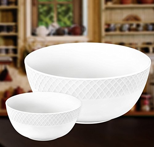 "Wilmax WL-880104, 8"" White Porcelain Classic Serving Salad Bowl and Six Small 5"" White Porcelain Serving Dessert Soup Bowls, European Bone China Julia Collection Bowls, Gift Box Set of 7"