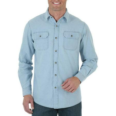 3a7a4082 Wrangler - Men's Long Sleeve Solid Twill Shirt - Walmart.com