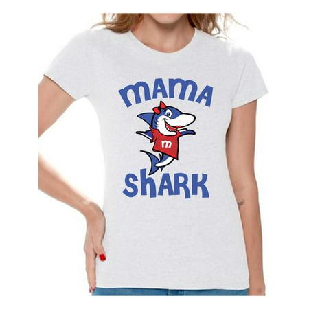 Awkward Styles Mama Shark Tshirt Shark Family Shirt for Women Shark Gifts for Mom Matching Shark Tshirts for Family Shark Themed Party Outfit Shark Mom Shirt
