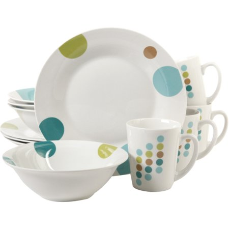 Gibson Home Retro Specks 12 Piece Dinnerware Set, White - 9