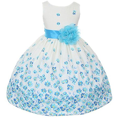 100% Cotton Floral Spring Easter Flower Girl Dress in Aqua Daisy - 10 - Cotton Flower Girl Dresses