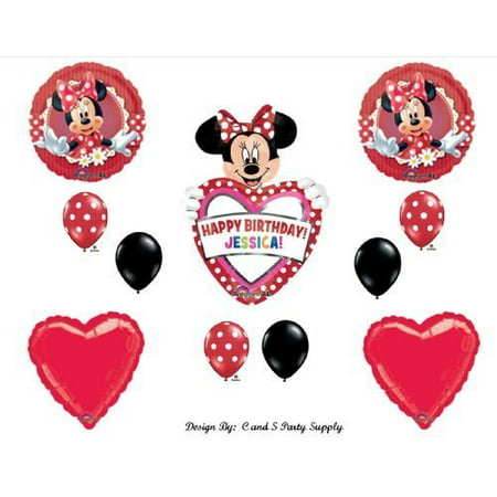 Red Mad About Minnie Mouse PERSONALIZED Happy Birthday Party Balloons Decorations Supplies - Red Minnie Mouse Balloons