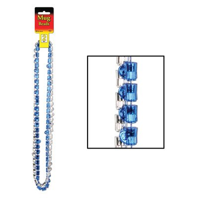 Oktoberfest Mug Beads (Asstd Blue & Silver) Party Accessory (2/card) Pkg/1