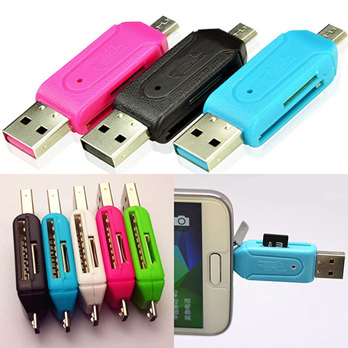 Girl12Queen 2 in 1 USB OTG Card Reader Universal Micro USB TF SD Card Reader for PC Phone