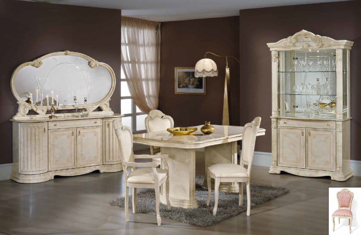 1PerfectChoice Italian Beige Dining Set With Table Armchairs Chairs Buffet  Mirror (No China Cabinet)