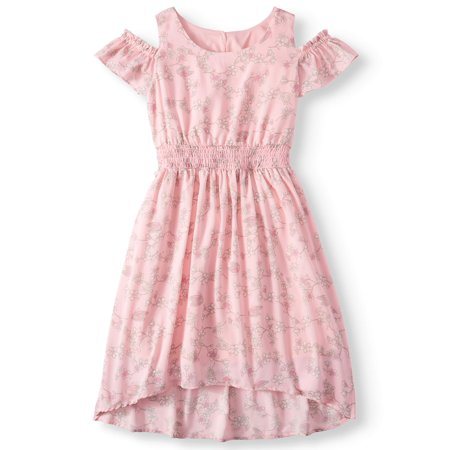 Floral Cold Shoulder Maxi Dress with Smocked Waist (Big Girls) - Little Girl Smocked Dresses
