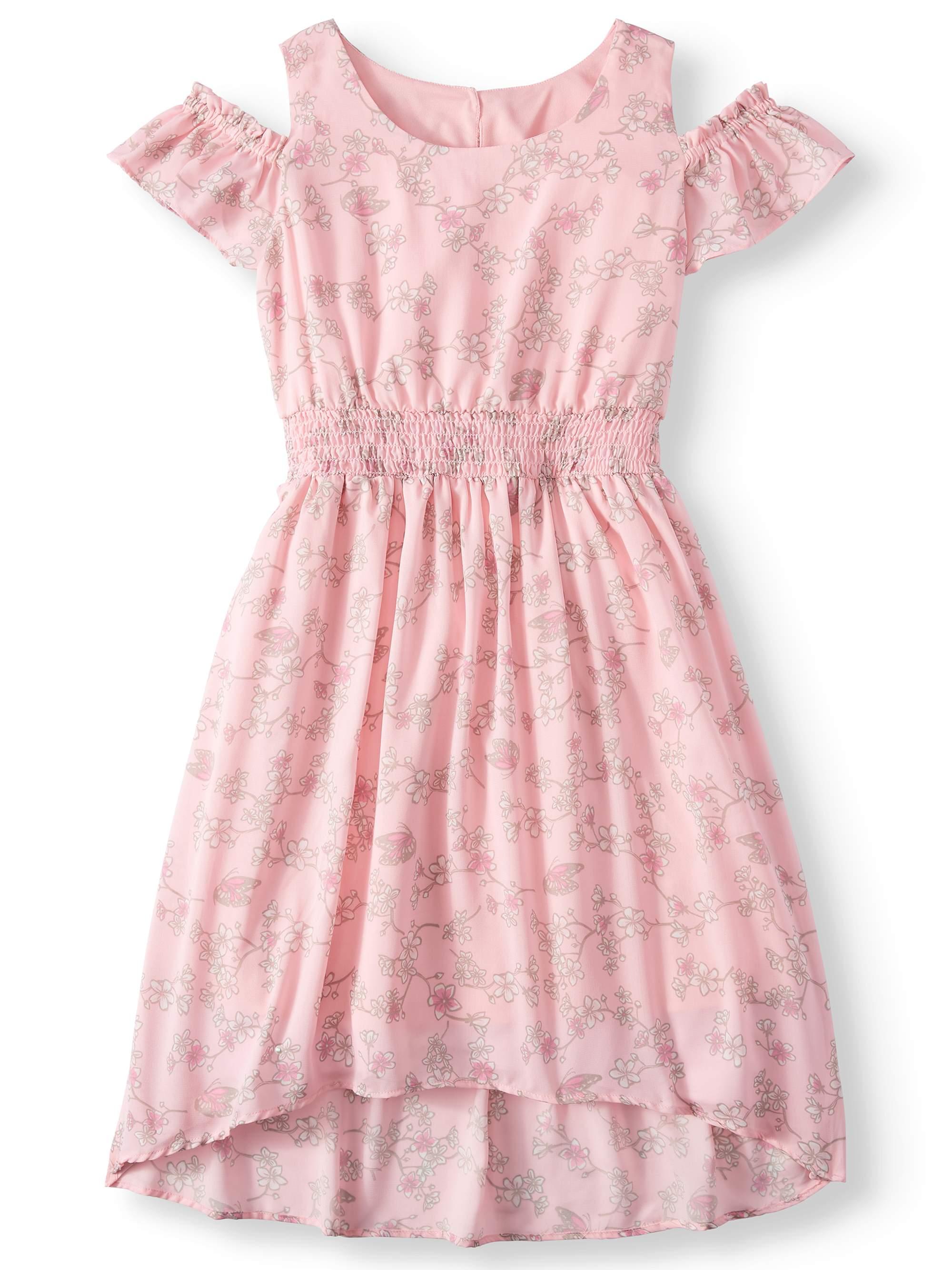 Floral Cold Shoulder Maxi Dress with Smocked Waist (Big Girls)