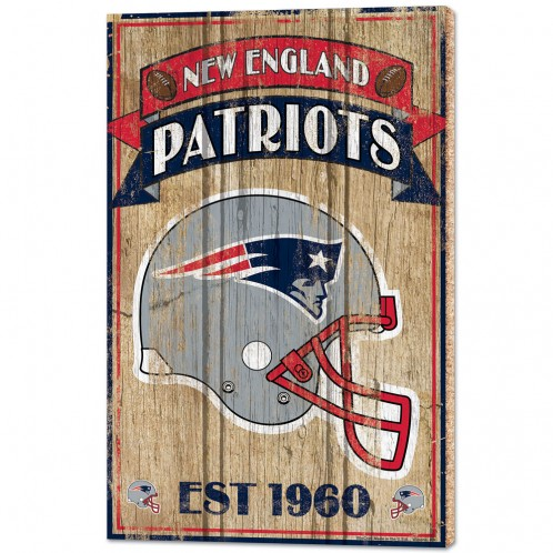 "NEW ENGLAND PATRIOTS WOOD SIGNS - 1/2"" THICK 15"" X 24"""