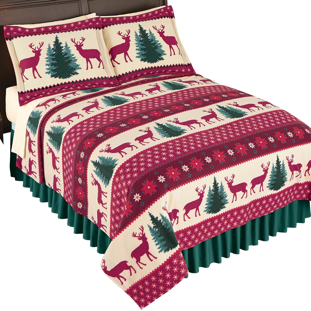 Holiday Deer Christmas Bedding Coverlet, Twin, Holiday Red by Collections Etc