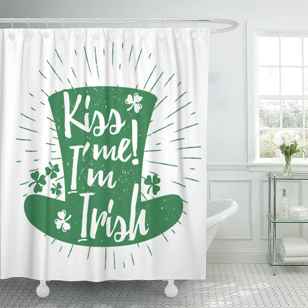 PKNMT St Patrick's Day Quote Lettering on Green Leprechaun's Hat with Lucky Shamrock Bathroom Shower Curtains 60x72 inch