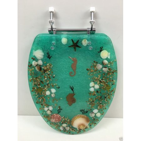elongated green seashell and seahorse resin toilet seat. Black Bedroom Furniture Sets. Home Design Ideas