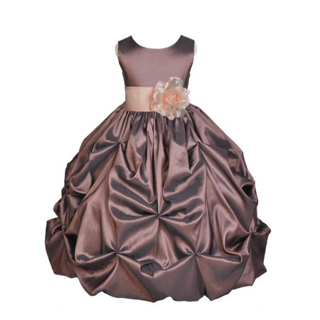 Brown Girls Dresses (Ekidsbridal Taffeta Bubble Pick-up Brown Flower Girl Dress Weddings Summer Easter Dress Special Occasions Pageant Toddler Birthday Party Holiday Bridal Baptism Junior Bridesmaid First Communion)