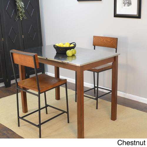 Darby Stainless Steel Top Bar Table Chestnut