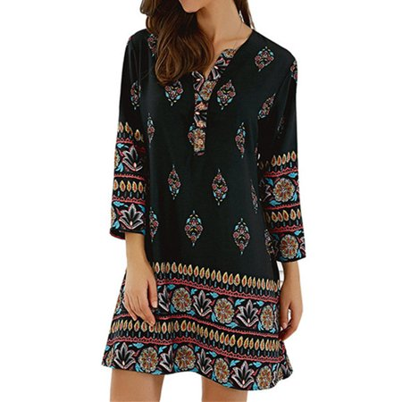 BOHO Womens Casual Floral Printed Rayon Mini Dress Loose Long Tops