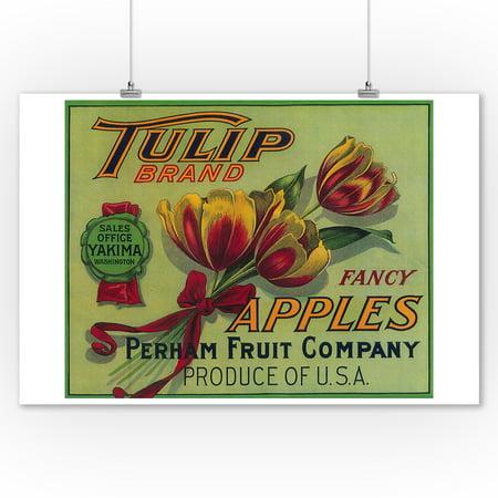 Tulip Apple Crate Label (9x12 Art Print, Wall Decor Travel Poster)