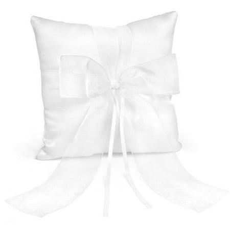 White Mini Satin Wedding Ring Pillow - Mini Pillow