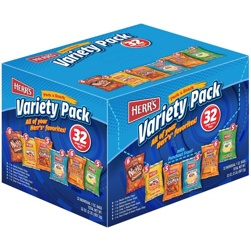 Herr's Chips Variety Pack, 1 oz, 32 count